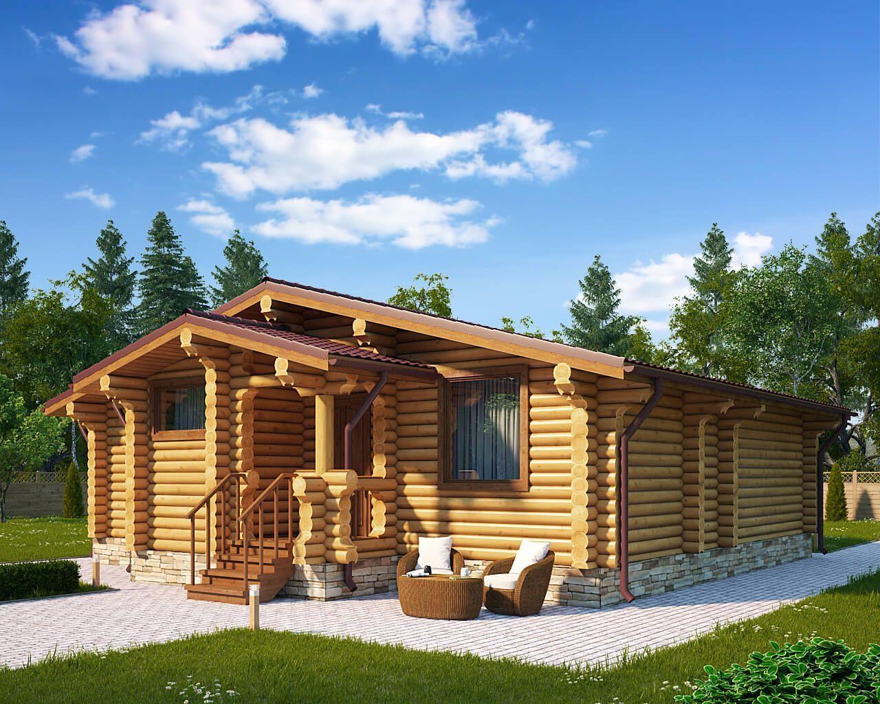 Одноэтажные деревянные дома из бревна фото проекты